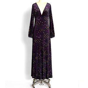 NWOT ModCloth Velvet Long Sleeve V Neck Dress L